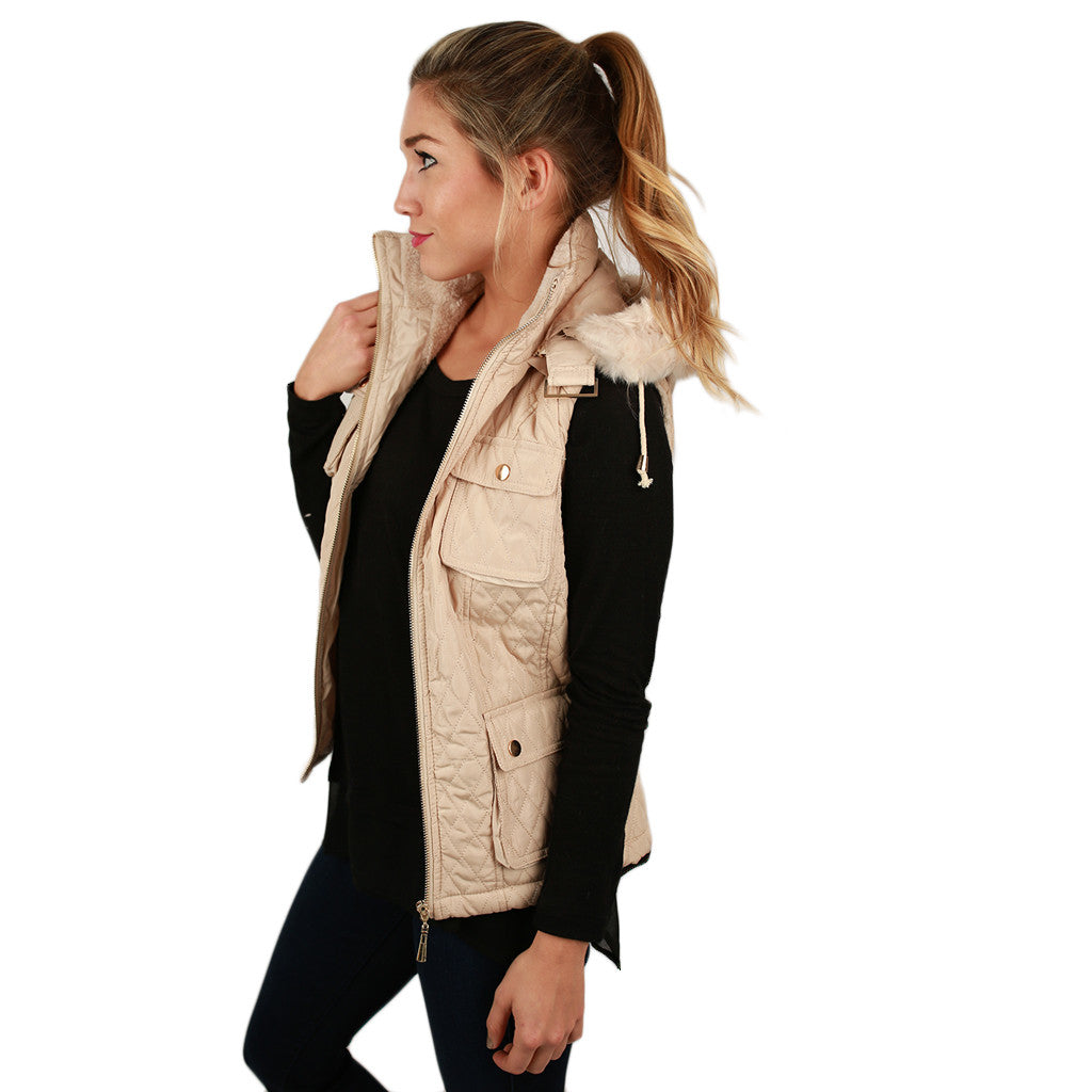 Shop 'Til I Drop Quilted Vest in Cream