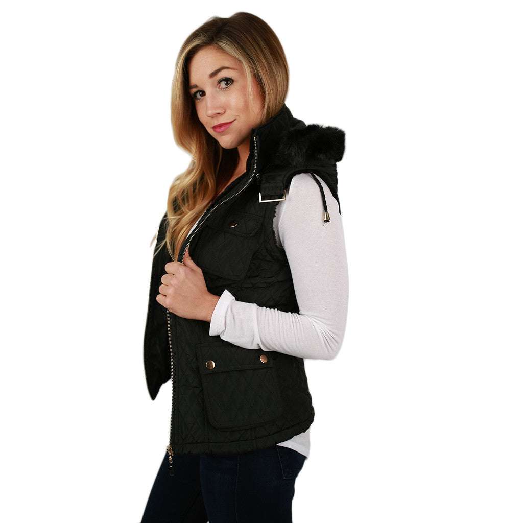 Shop 'Til I Drop Quilted Vest in Black