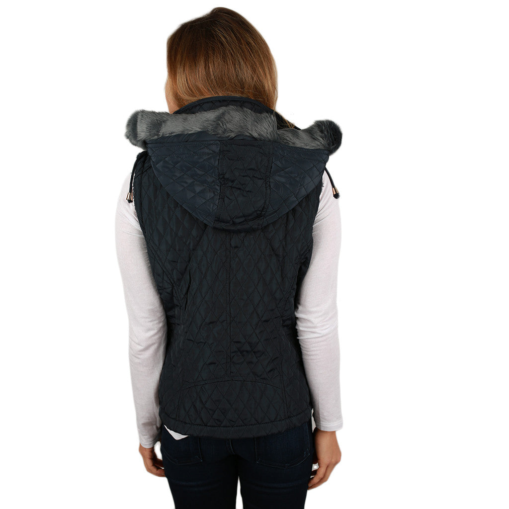 Shop 'Til I Drop Quilted Vest in Navy