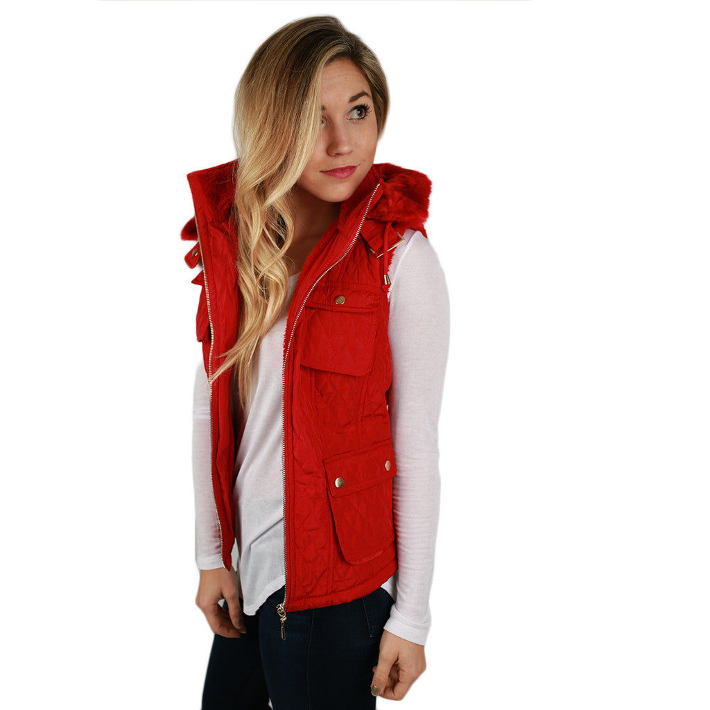 Shop 'Til I Drop Quilted Vest in Red