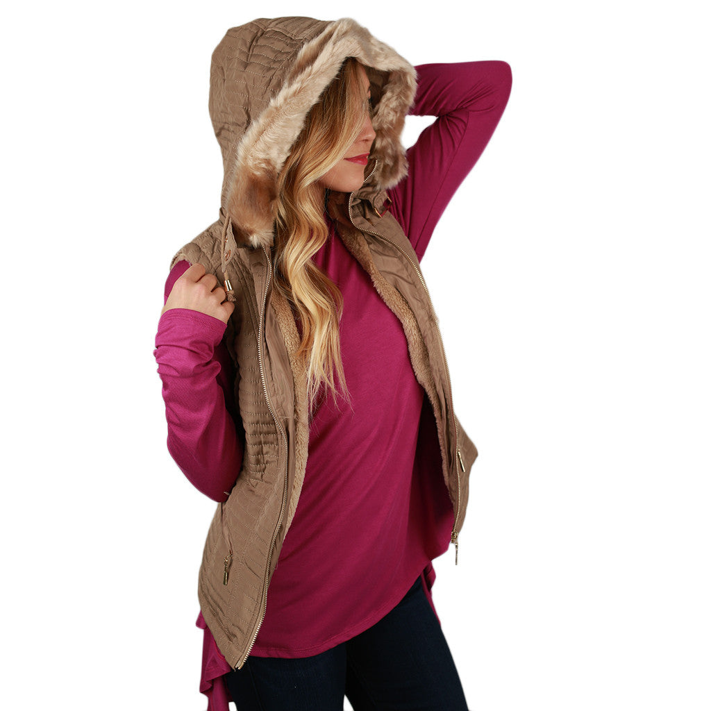Dream Girl Quilted Vest in Beige