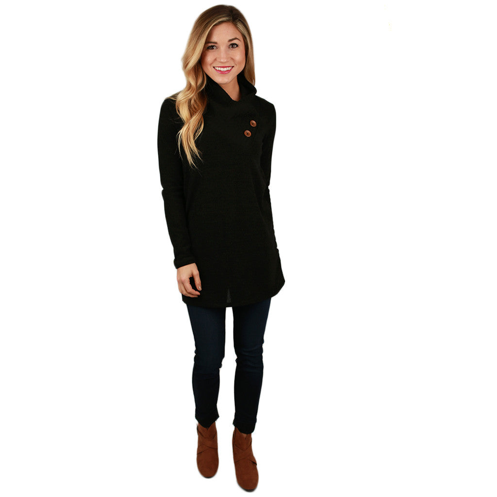 Button Up Beauty Sweater in Black