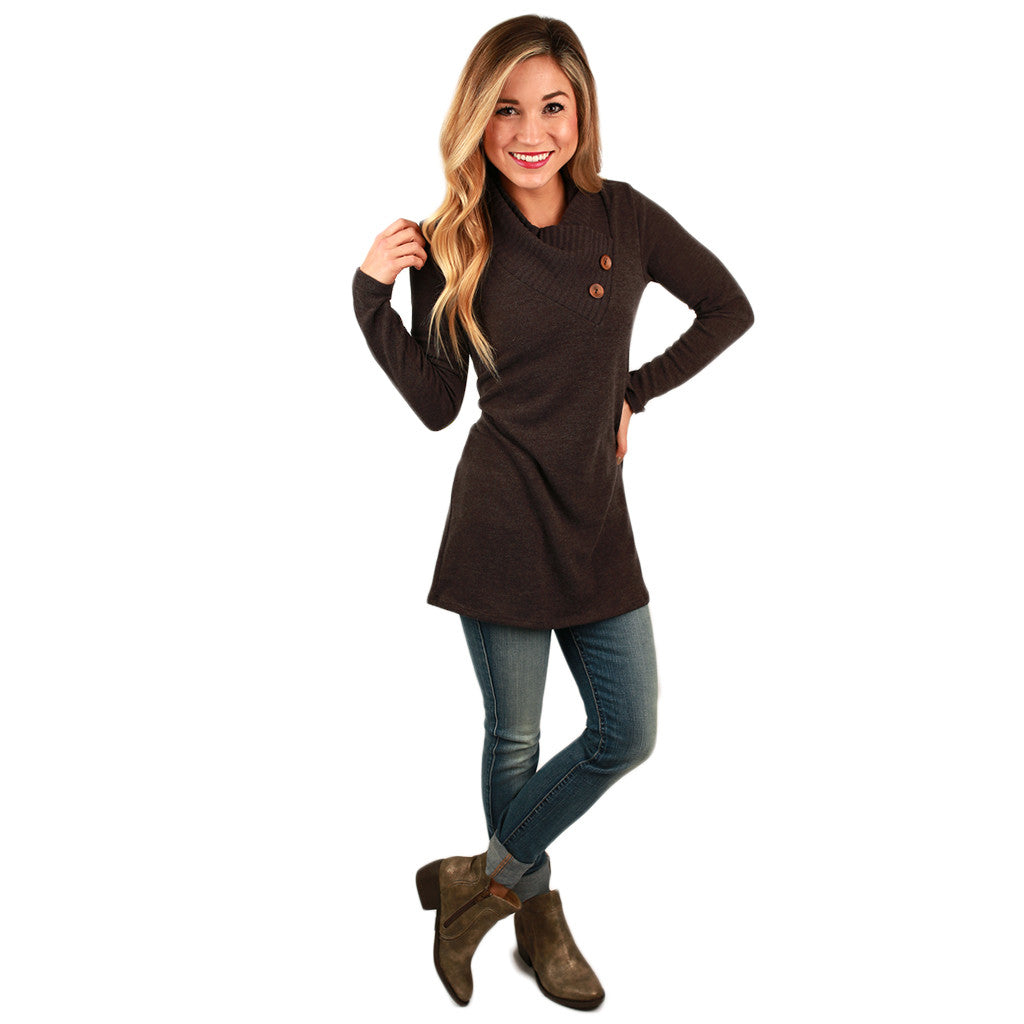 Button Up Beauty Sweater in Mocha