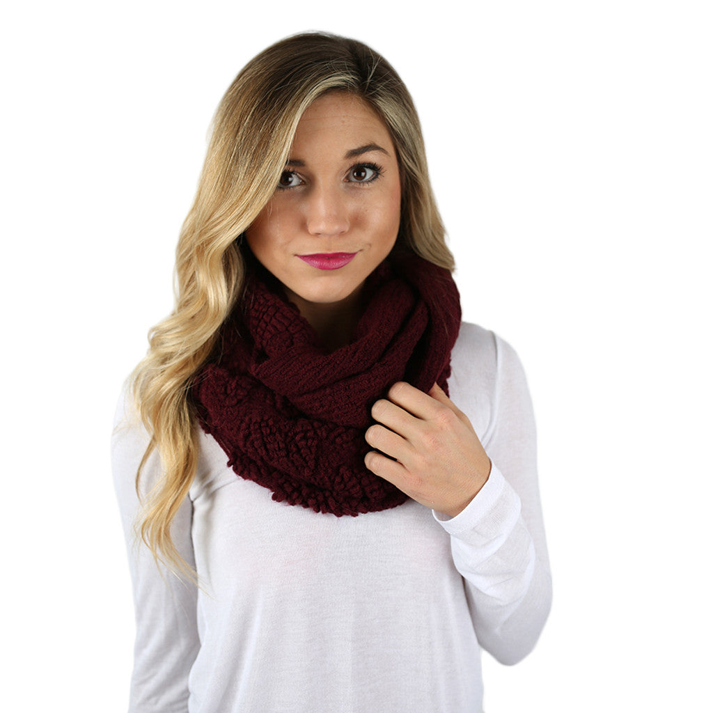 Cozy on the Slopes Infinity Scarf in Wine