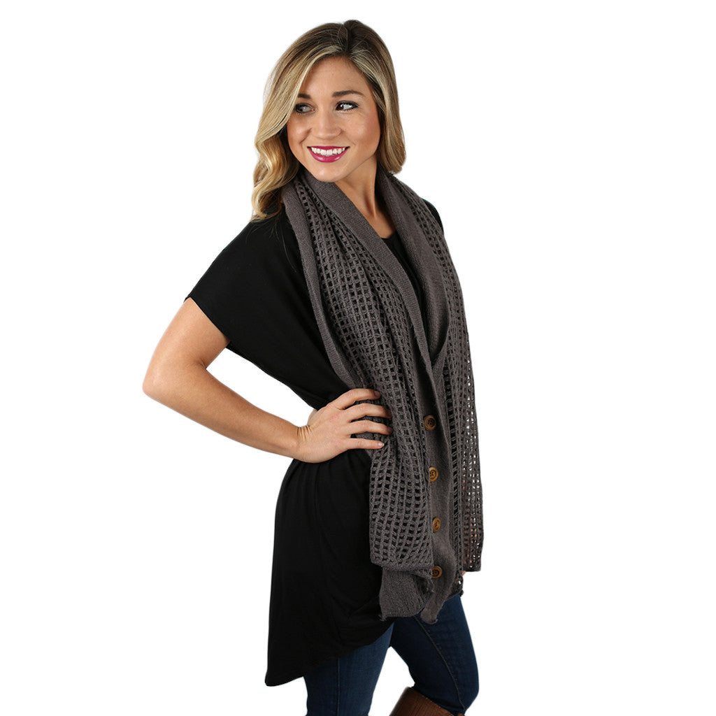 Button Up Beauty Scarf Charcoal
