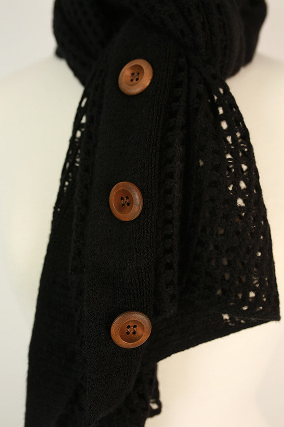 Button Up Beauty Scarf in Black