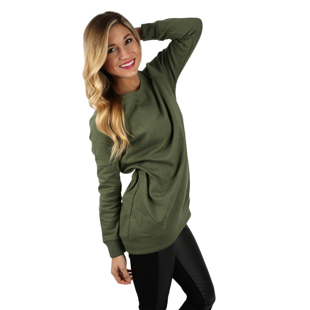 I'll Be Your Sweetheart Sweatershirt in Olive
