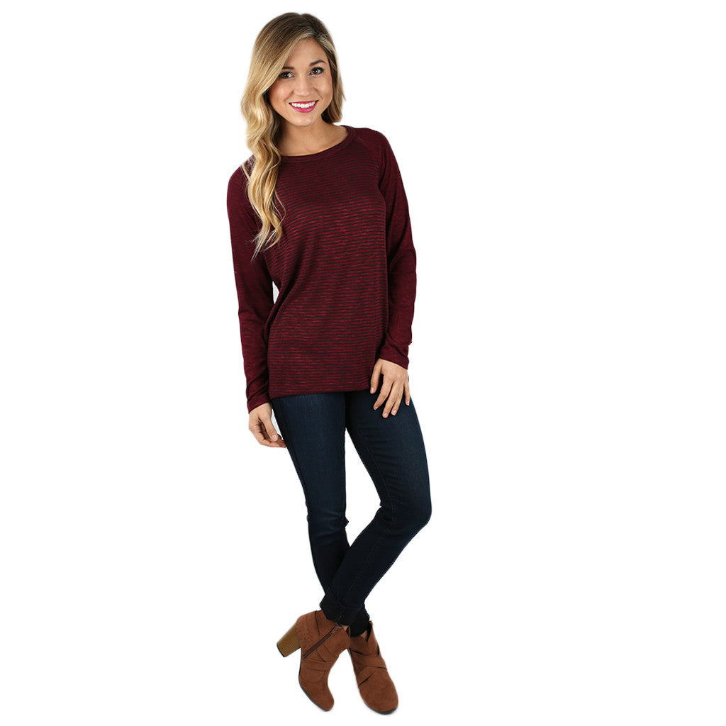 Oh So Comfy Tee in Burgundy