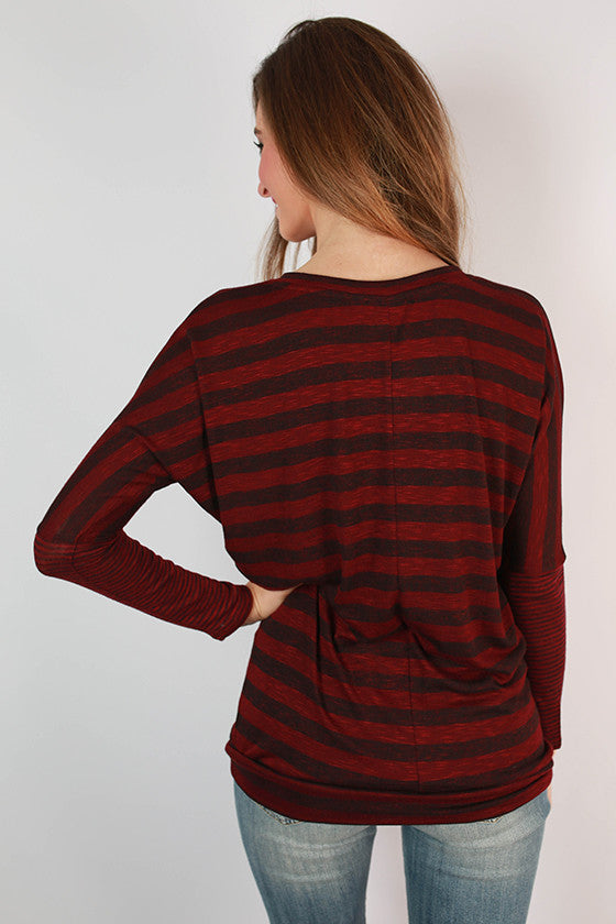 Must Be Bliss V-Neck Tunic in Burgundy