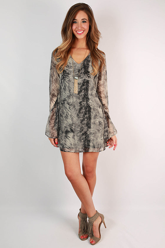Perfect Occasion Patterned Dress in Grey