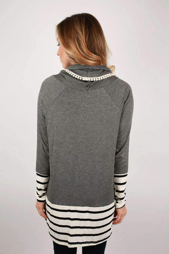 Stripe Dreaming Tunic in Charcoal