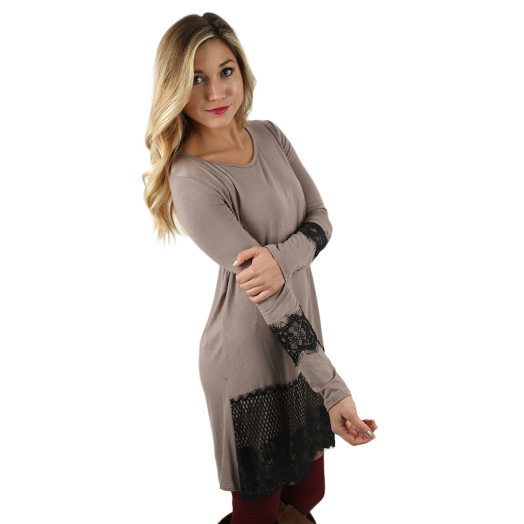 Downtown Dancing Dress in Taupe