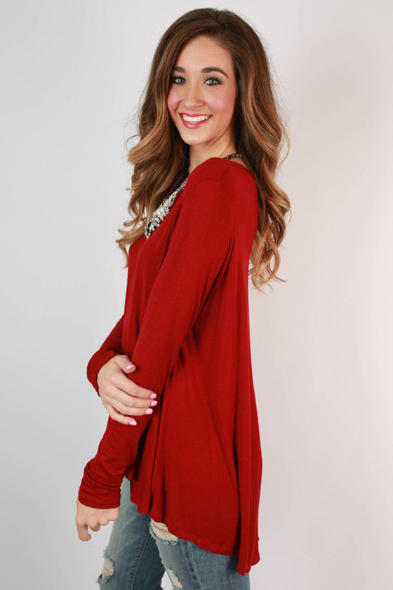 Chic for the Season Top in Crimson
