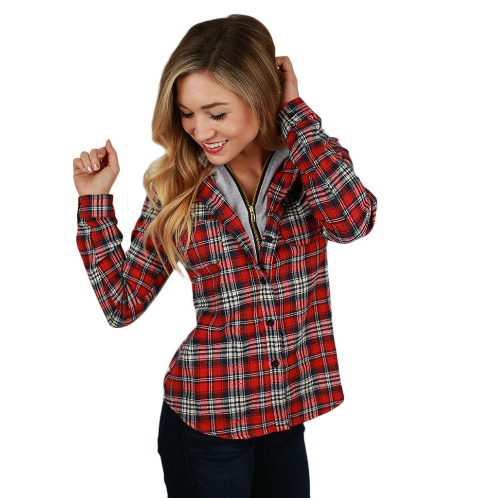 Cozy Days Flannel Hoodie Thin Stripe in Red