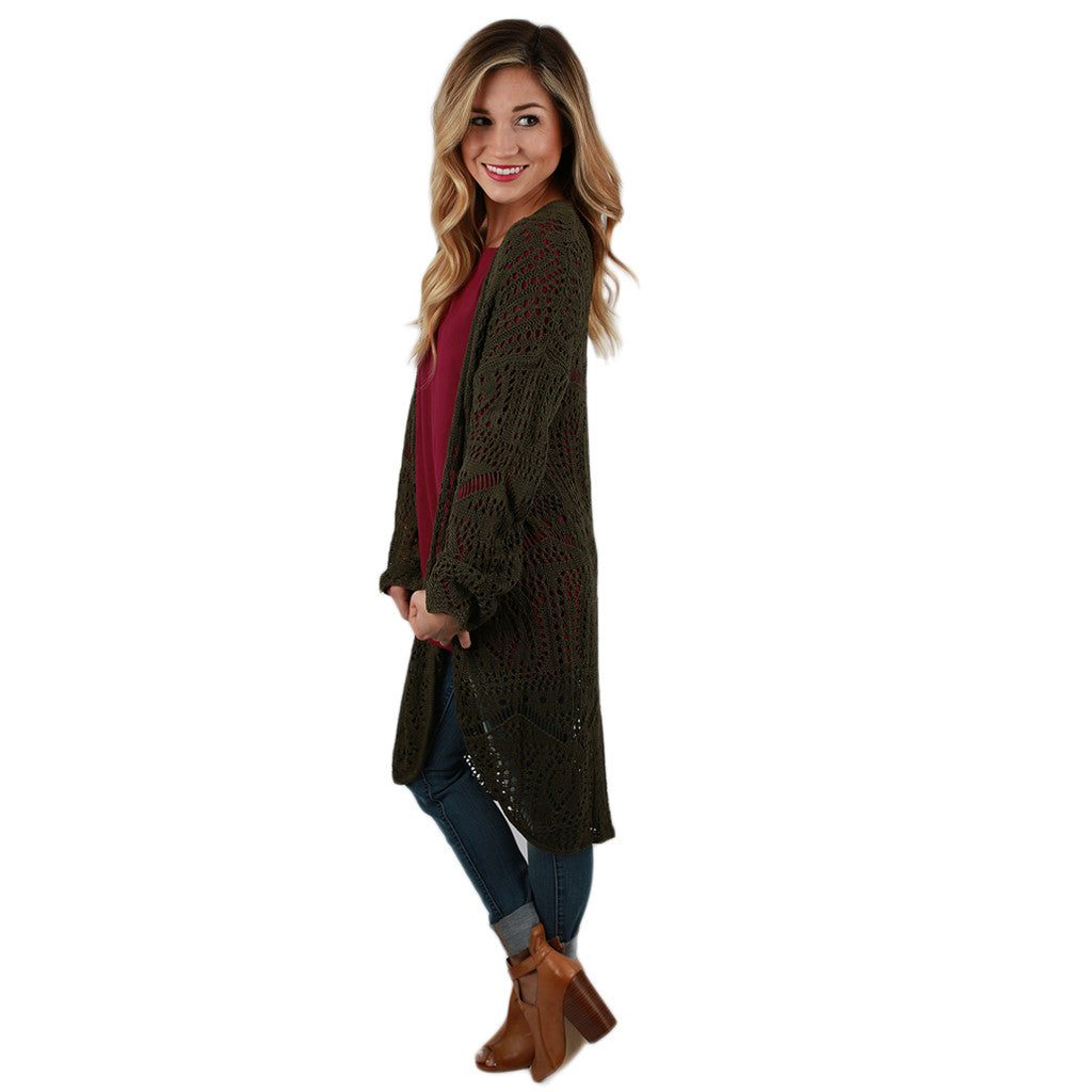 Denver Dreaming Cardi in Olive