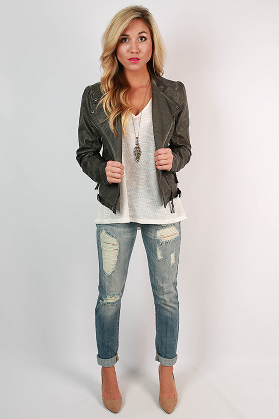 Rebel With A Cause Faux Leather Jacket in Charcoal