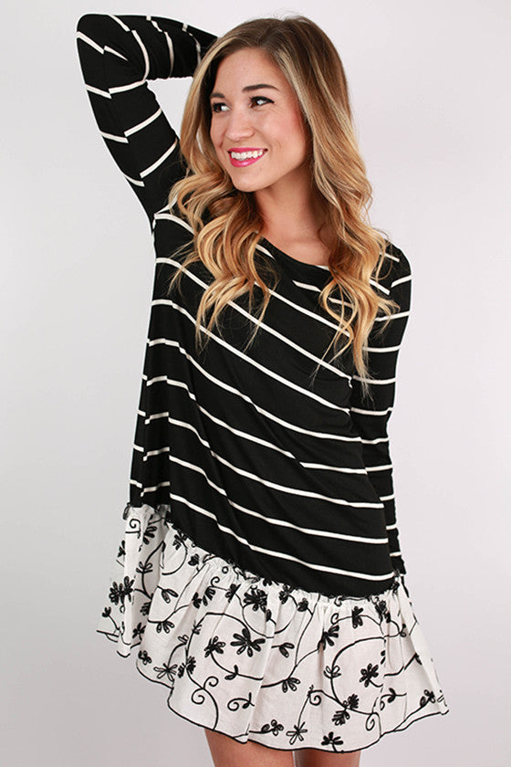 Breezy Keen Striped Dress in Black