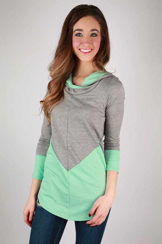 Not So Basic Color Block Hoodie in Mint