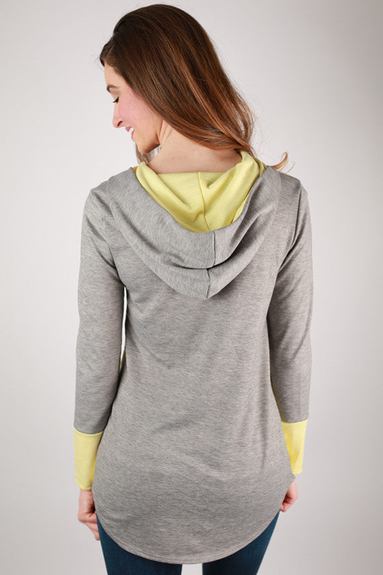 Not So Basic Color Block Hoodie in Yellow