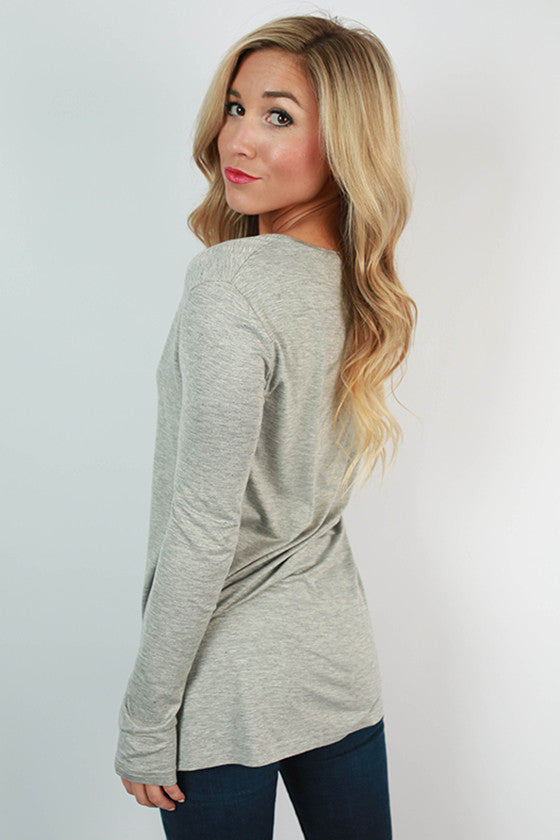 PIKO Long Sleeve V-Tee in Heather Grey