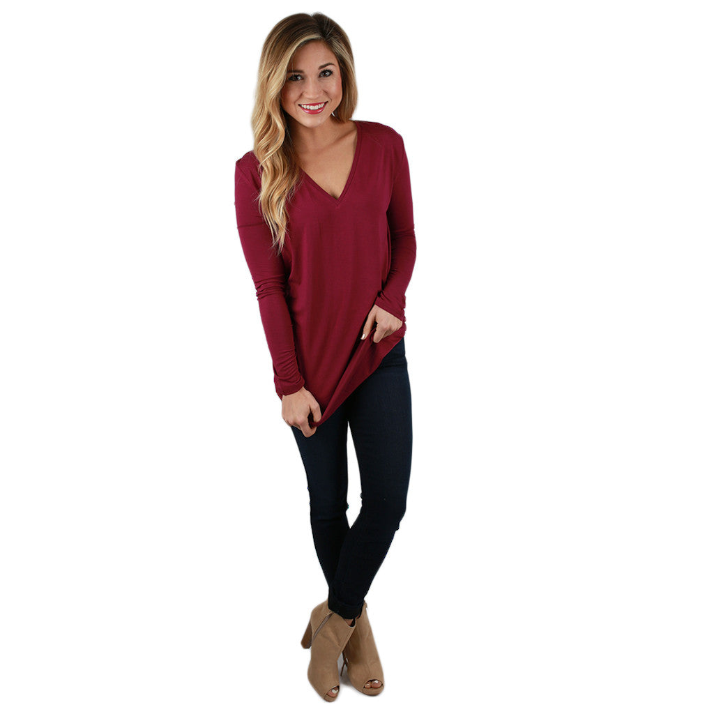 PIKO Long Sleeve V-Tee in Royal Lilac