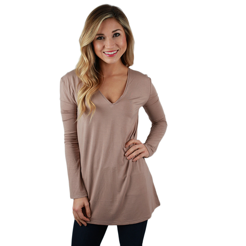 PIKO Long Sleeve V-Tee in Coffee