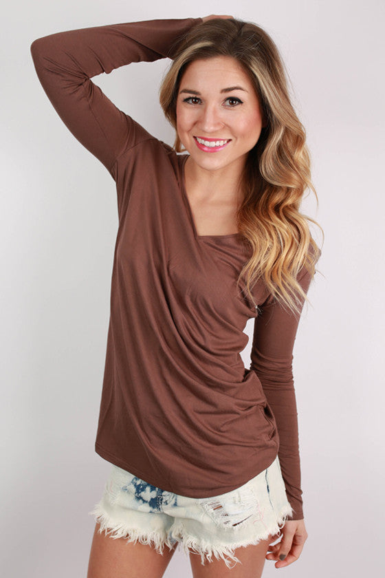PIKO Long Sleeve V-Tee in Brown