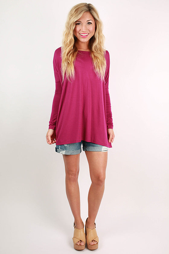 PIKO Long Sleeve Tee in Bright Fuchsia