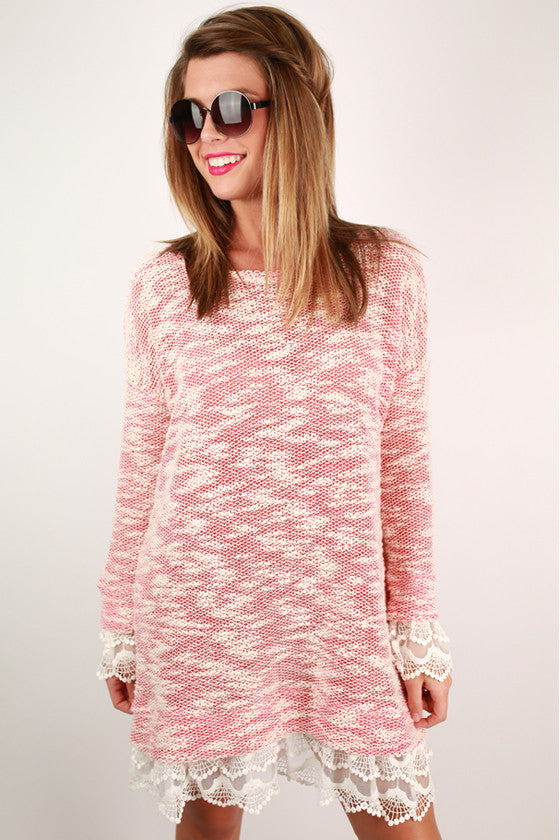 Hello, Darling Sweater Dress in Coral