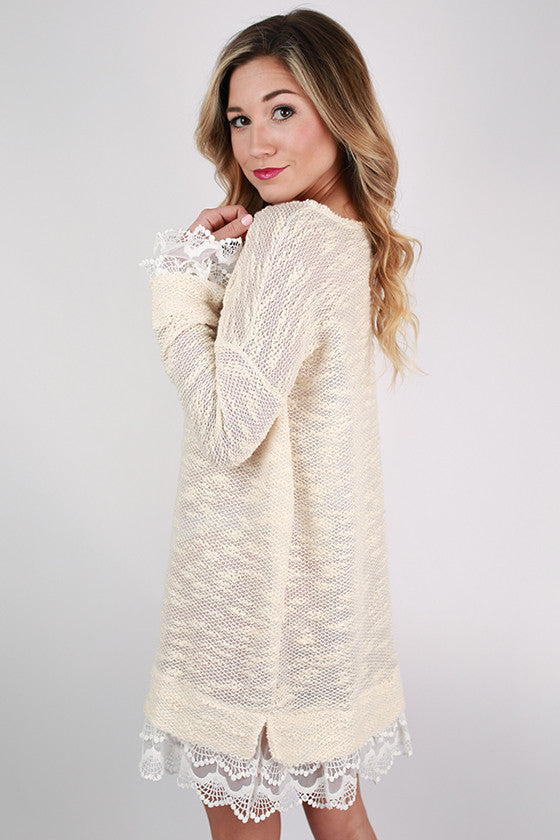 Hello, Darling Sweater Dress in Ivory