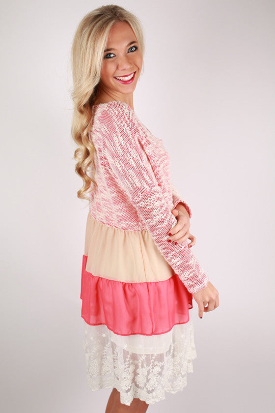 Move & Shake Ruffle Dress in Coral