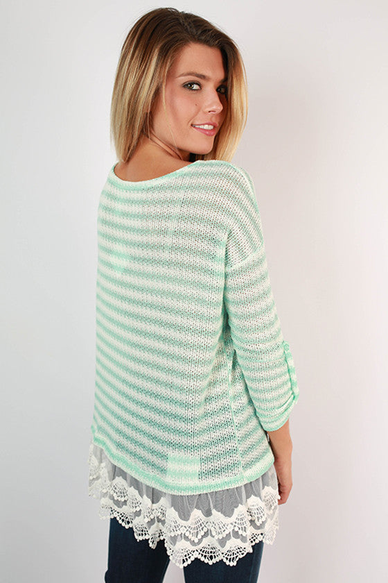 All The Right Stripes Top in Mint