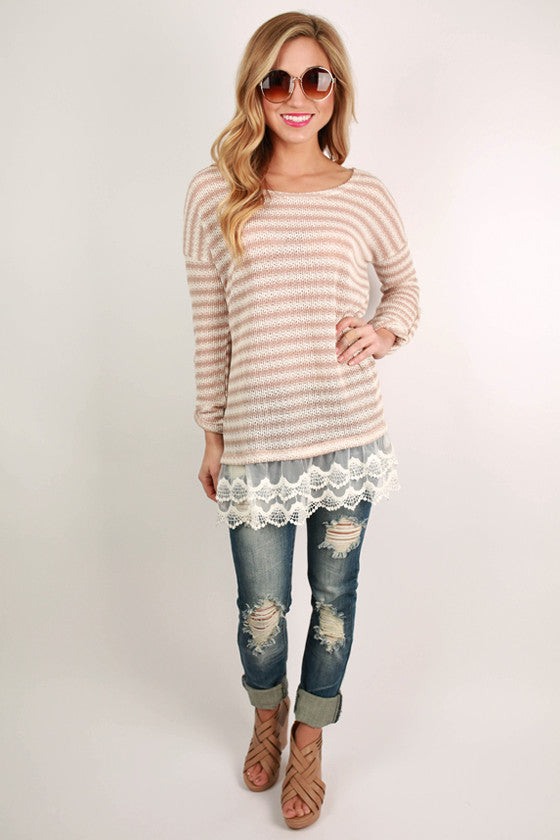 All The Right Stripes Top in Taupe