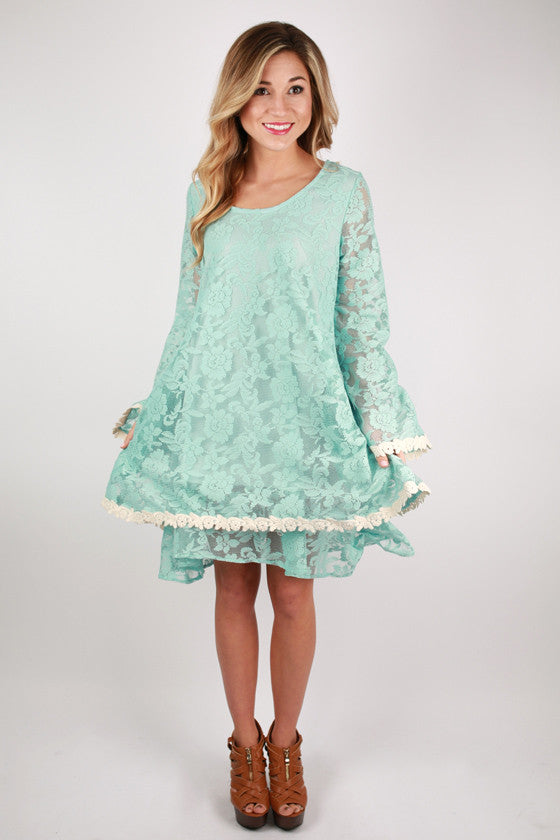 Lace Your Wishes Dress in Aqua