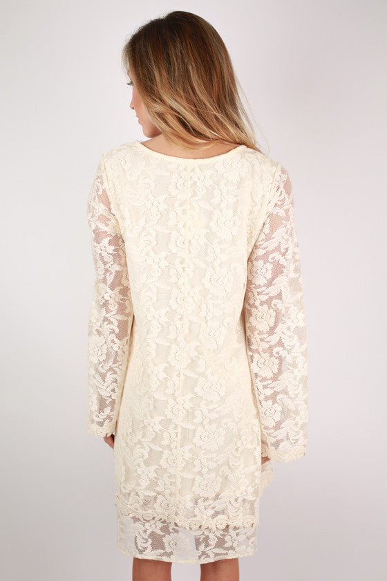Lace Your Wishes Dress in Ivory