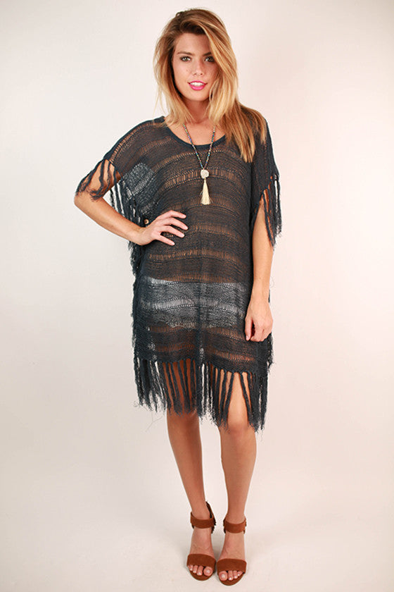 Fringe With Benefits Top in Slate