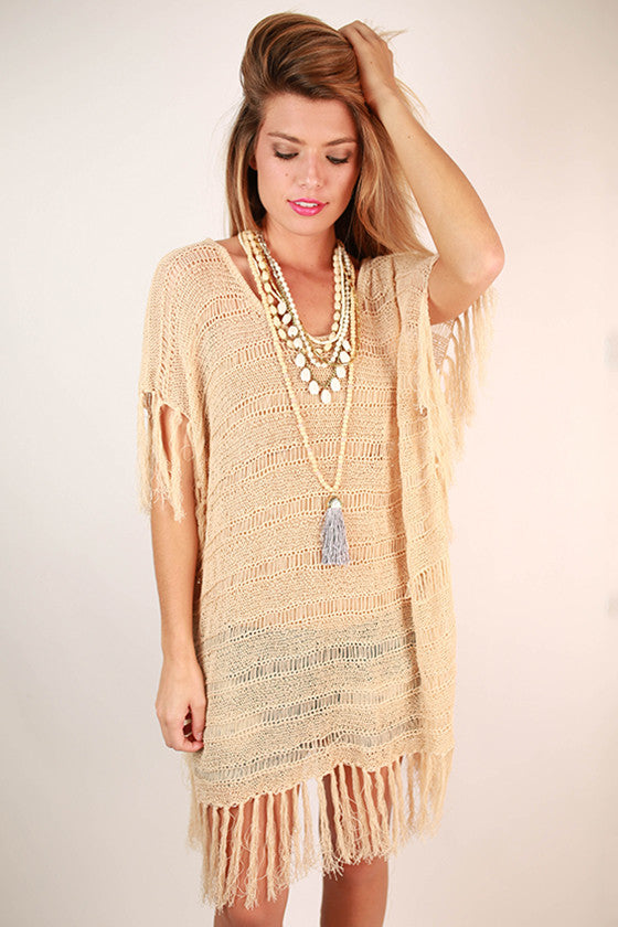 Fringe With Benefits Top in Tan