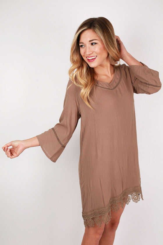 Always A Silver Lining Dress in Mocha