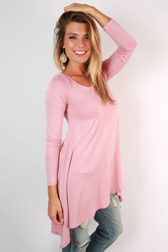 Flowy & Fab Long Sleeve Tunic in Pink