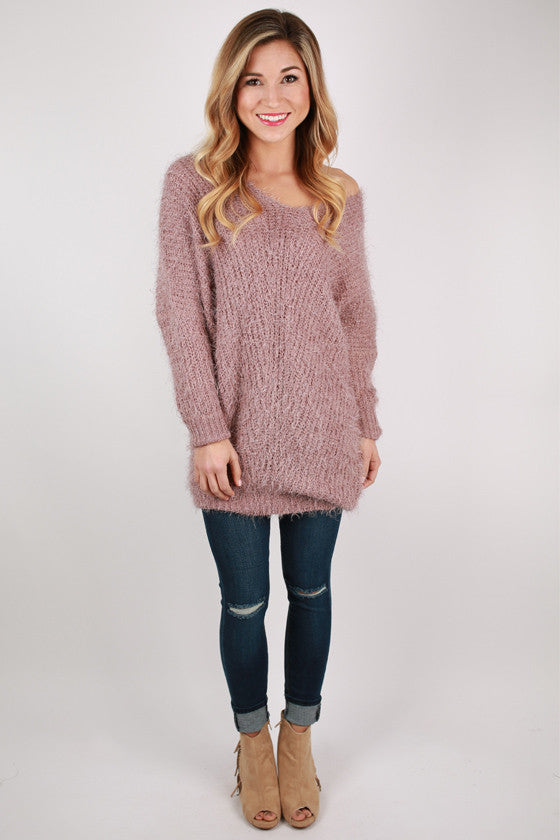 Softer Than Clouds Tunic Sweater in Lilac