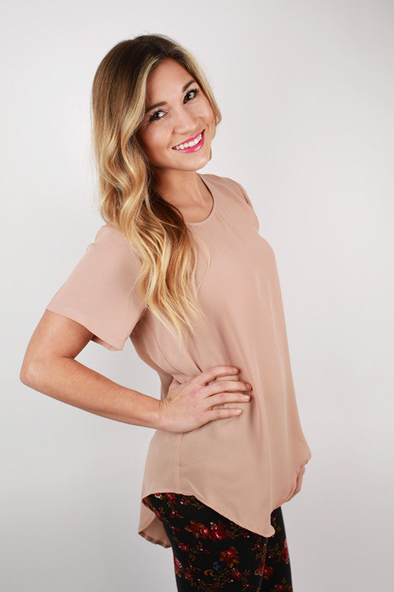 Happy Pretty Girl Top in Nude