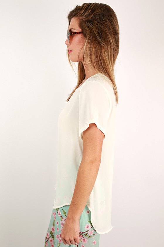 Happy Pretty Girl Top in Ivory
