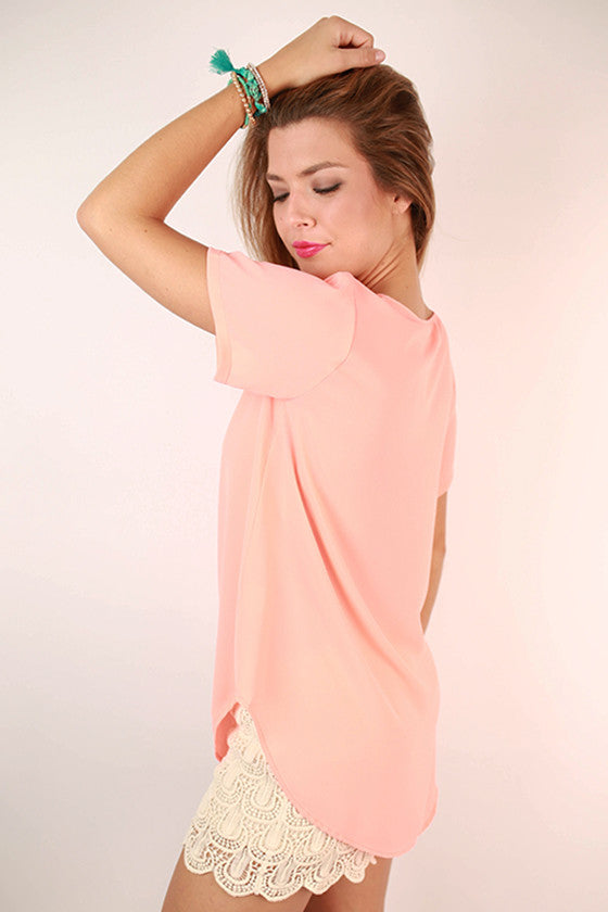 Happy Pretty Girl Top in Peach
