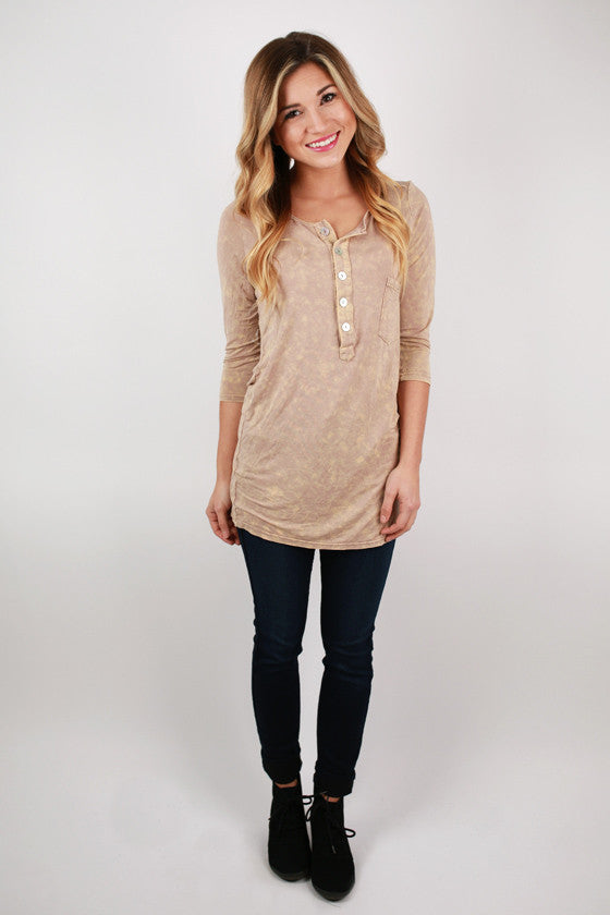 We Are The Free Henley in Tan