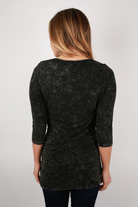 We Are The Free Henley in Black