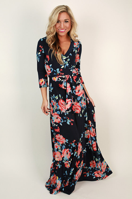 Fields Of Pretty Maxi Dress In Navy Impressions Online