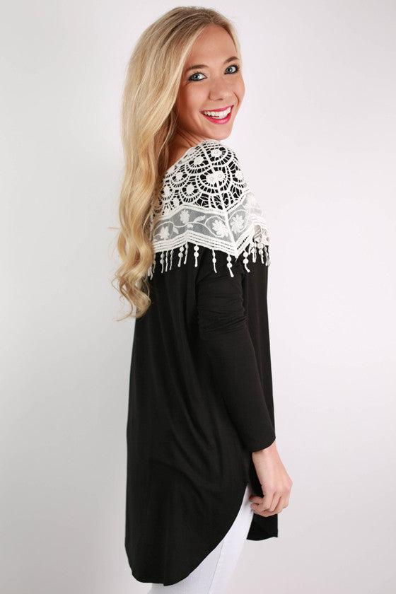 Oh So Smitten Tunic in Black