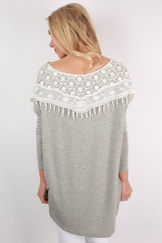 Oh So Smitten Tunic in Grey