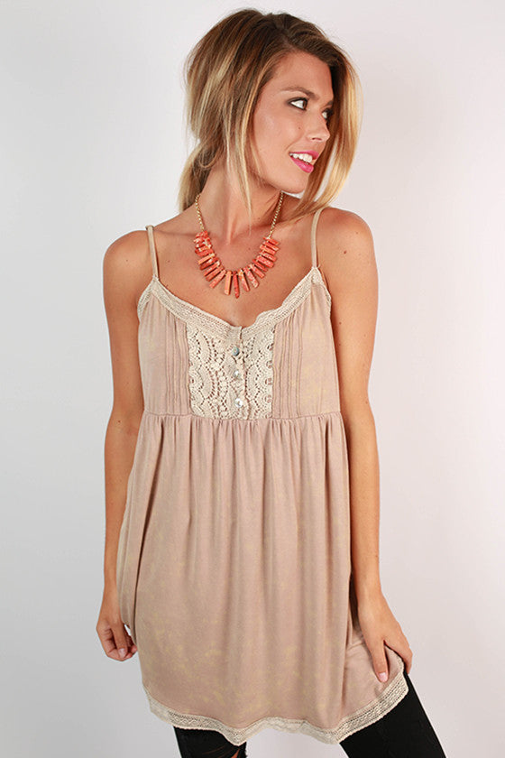 Basically Beautiful Baby Doll Tank in Beige