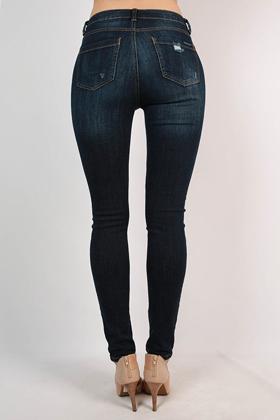 High Rise Distressed Washed Skinny in Stone Blue